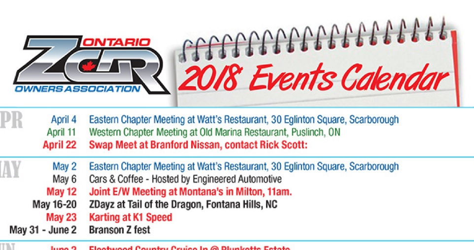 ozc 2018 events calendar ontario z car owners association